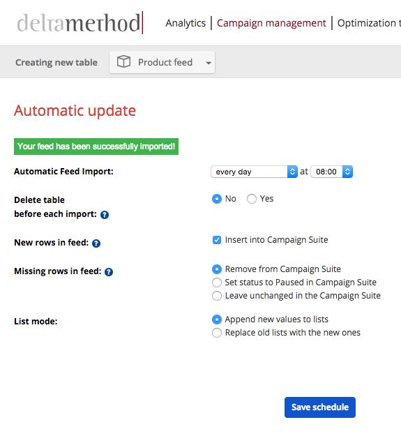 Automatic update settings