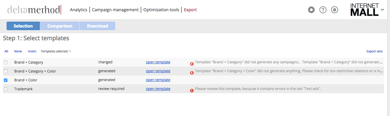 Step 1 - Select templates for export