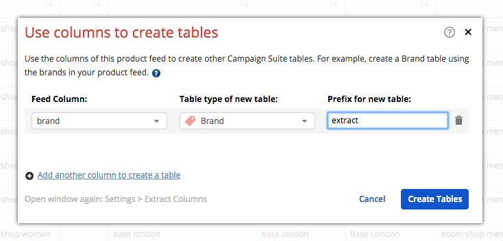 Select columns, table types and prefix