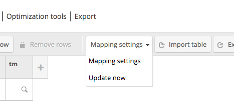 Mapping settings