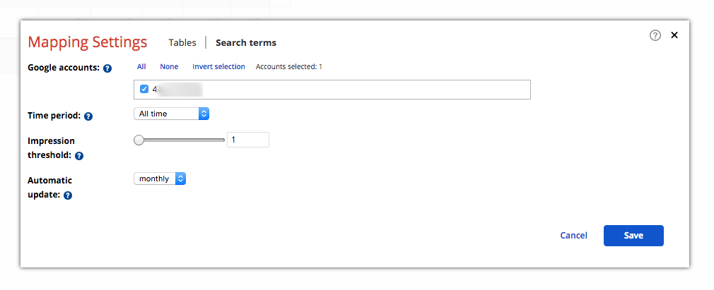 Mapping settings - Search terms